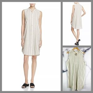 Eileen Fisher Stripe Cotton Linen Shift Dress